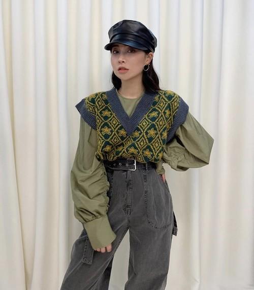ビンテージオーバーショルダーベスト ニットベスト ベスト 韓国ファッション