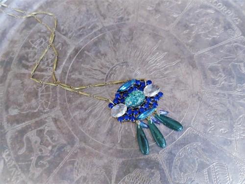 vintage necklace bijou blue <NC-RBblue>