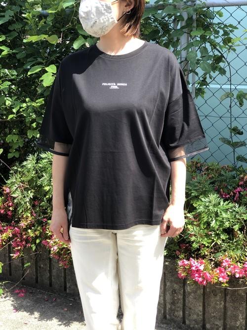 PASSIONE/126931/メッシュ切り替えTシャツ(ブラック)