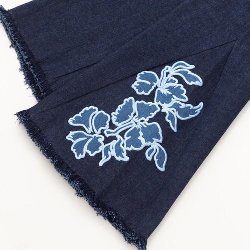 Hibiscus denim pants dark blue
