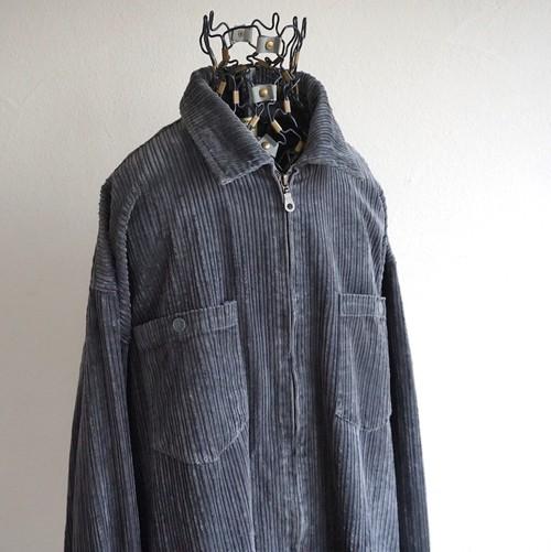 2000's [AUCOTON] ジップアップ 太畝 コーデュロイシャツ チャコールグレー 実寸(XL程度)