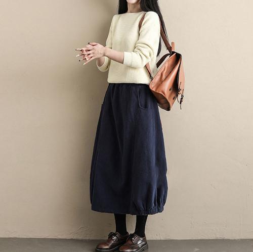 コットンリネン裾ギャザースカート C0471