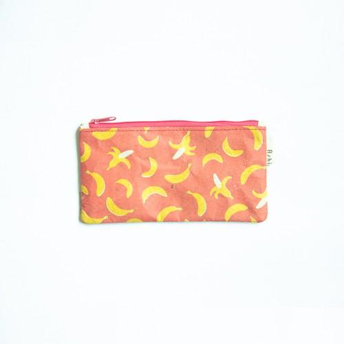 Ashi|亜紙 Flat Pouch M*Banana Pink 紙ポーチ フルーツ柄 バナナ ハンドメイド