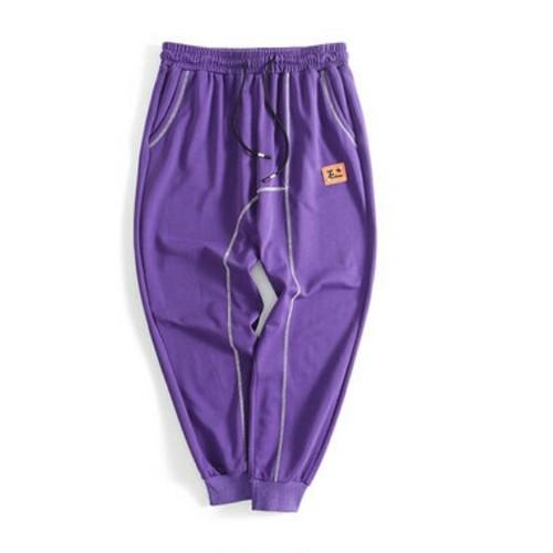 送料無料メンズ大きいサイズおしゃれステッチ動きやすいジョガーパンツ黒紫