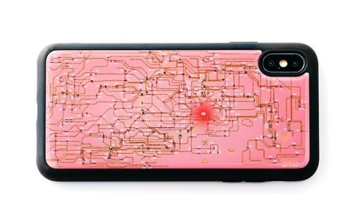 FLASH 東京回路線図 iPhone XS Maxケース ピンク【東京回路線図A5クリアファイルをプレゼント】