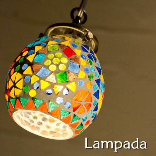 IDP676 インド・モザイクガラス ペンダントライト