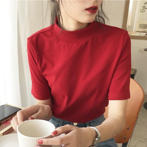 【トップス】無地半袖シンプルTシャツ