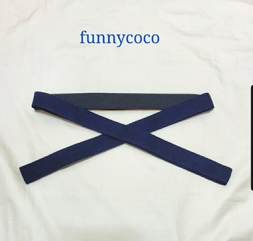 カラー三重紐 黒×ネイビー