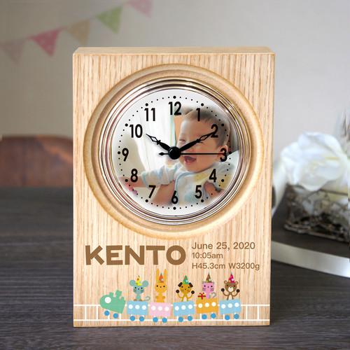 ハッピースキップ 置き時計 (ナチュラルウッド) 出産祝い 出産内祝い オーダーメイド 時計【送料無料】