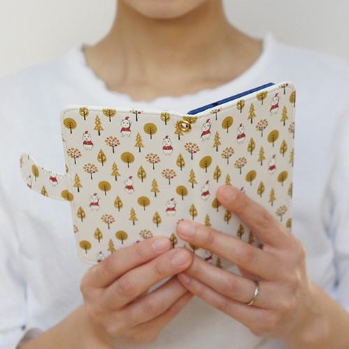手帳型スマホケース(大きいサイズのAndroid用)いしカバくんボタニカル柄