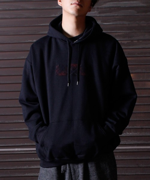 Needle Punch Box Logo PO Hoody -black <LSD-BJ3T3>