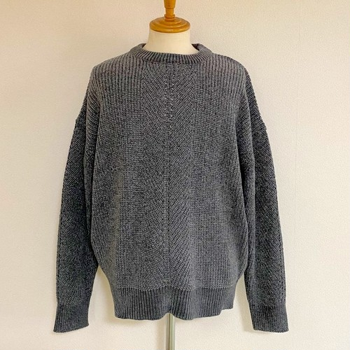 Mole Yarn Loose Crewneck Knit Charcoal