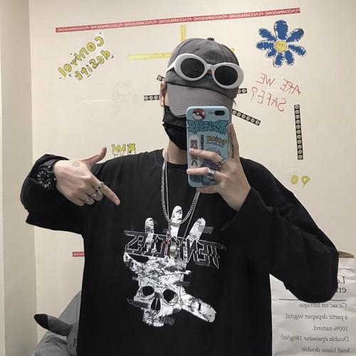 【トップス】ストリート系長袖アルファベットプリントTシャツ22678131