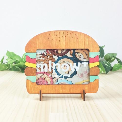 「ハンバーガー」木製写真立て(L判サイズ用)フォトフレーム インテリア