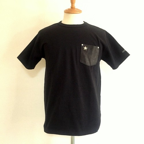 LEATHER POCKET ONE STAR S/S T-SHIRTS BLACK