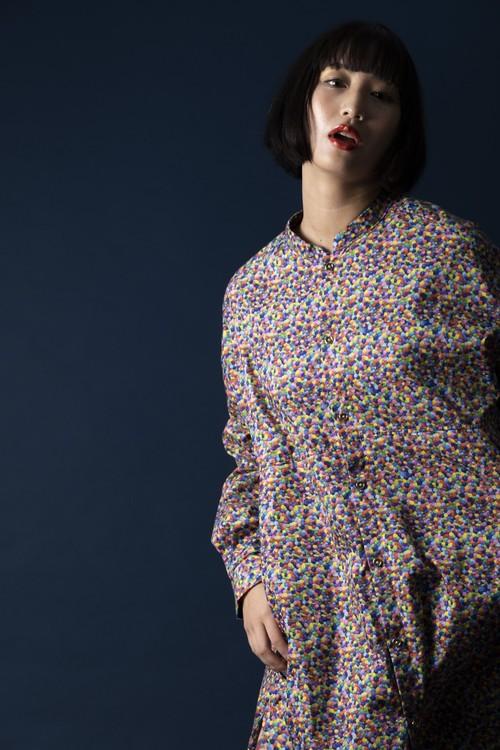 マーブル柄 長袖シャツ