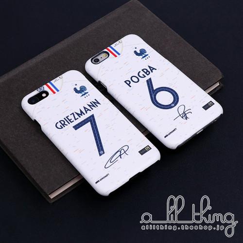 「WC2018」フランス ロシアW杯 ワールドカップ アウェイユニフォーム アントワーヌグリーズマン サイン入り iPhoneX iPhone8 ケース