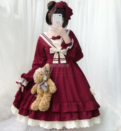 9941ロリータ衣装 ロリータ服 レディース 可愛い 少女風 ワンピース 長袖 半袖