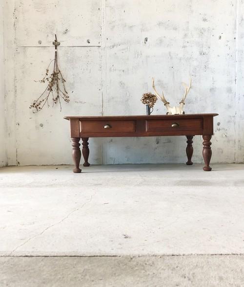 ろくろ脚の木製ローテーブル[古家具]