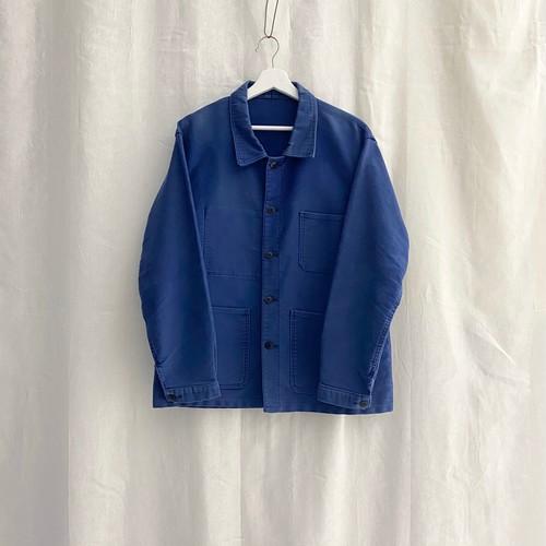 FRANCE 70s〜vintage ink blue moleskin work jacket(coverall)