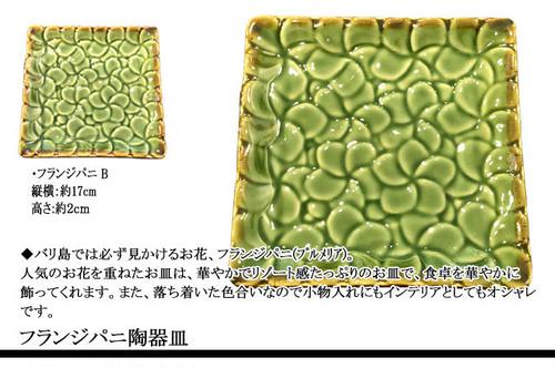フランジパニ(プルメリア)陶器皿 B