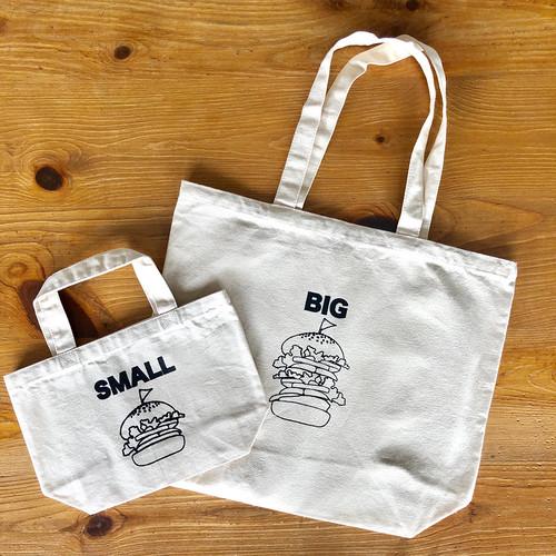 親子でおそろい /ハンバーガー SMALL×BIG プリント/ トートバッグ2枚組ギフトセット