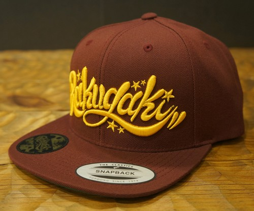 RAKUGAKI 2017 SS Main logo Snap Back Cap Burgundy x Gold Yellow