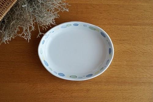 砥部焼/水玉カレー皿(大)/青/大西陶芸
