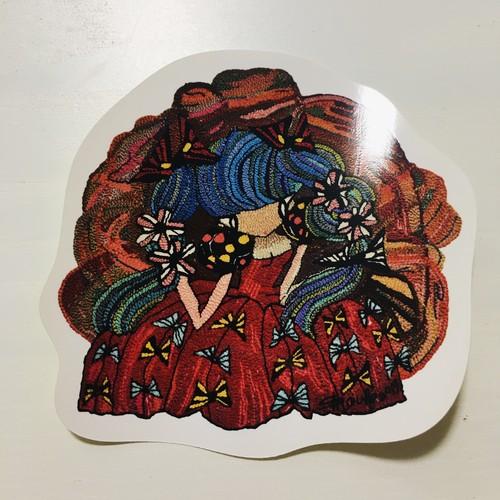夢見る赤いドレスのプリンセス刺繍ステッカー♥