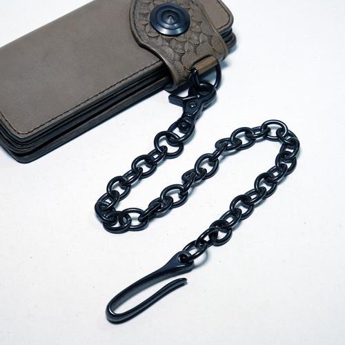 ダールブラック鍍金仕様・真鍮(ブラス)ウォレットチェーン:バレル加工済み 3.5mm 小判(コバン)チェーン