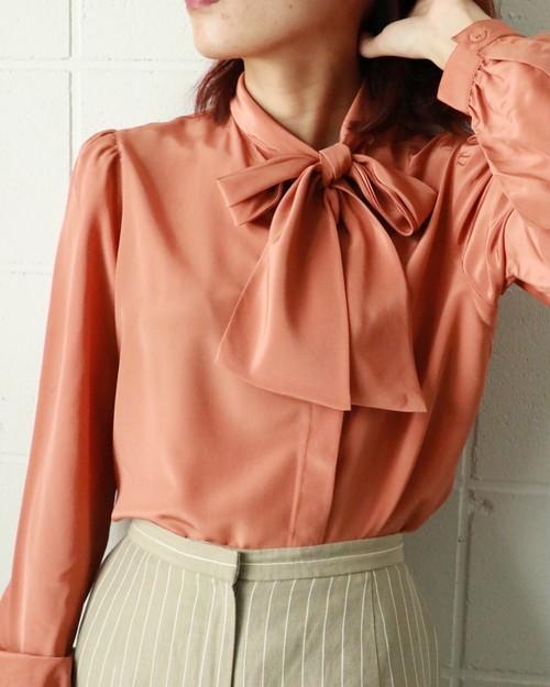 salmon pink side bowtie blouse