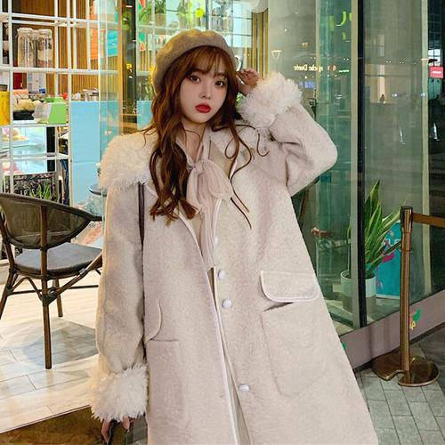 【アウター】スウィート長袖折り襟新作ゆったり韓国風ロング秋冬コート