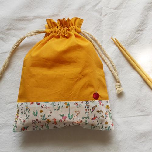 りんご刺繍の給食袋(リバティ)