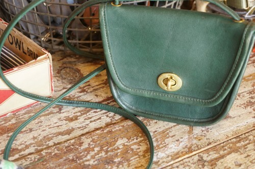 80's COACH green flap mini Bag