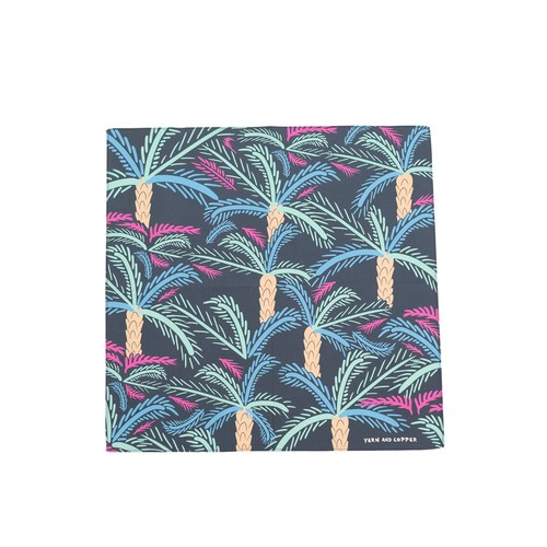 Organic cotton 'Florida' Neon Blue&Cream ハンカチ/ポケットチーフ