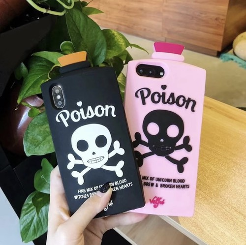 全2色 poison 毒瓶シリコンケース★iPhone6/6s/6,6sPlus/7/7Plus/8/8Plus/X/Xs