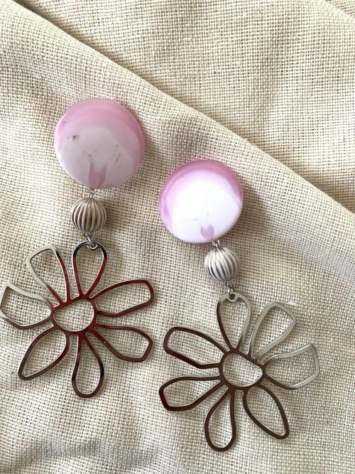 pink × silver ❤︎/イヤリング