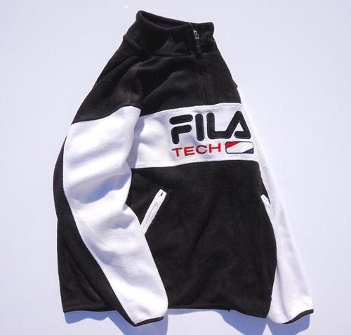 1990's [FILA] ハイネック&ハーフジップ フリースプルオーバー モノトーン 表記(S) フィラ