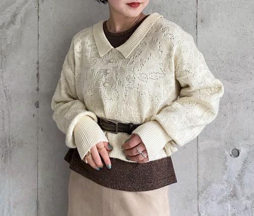 (PAL) polo collar knit tops