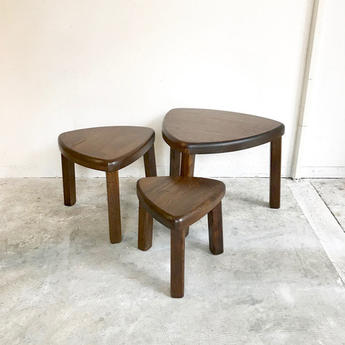 15%OFF!! ¥41,800→¥35,530 Oak Wood Vintage Triangle Nest Table 3 set 70's オランダ