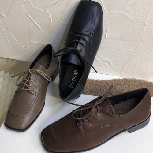 スクエアトゥオックスフォード 革靴 ふわもこ中敷き付き 秋冬 防寒 韓国