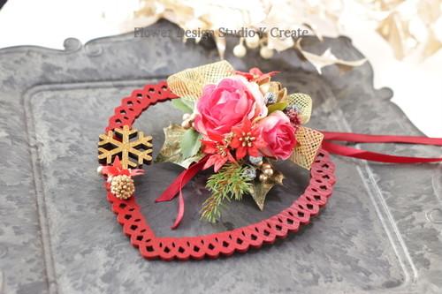 ハートの薔薇のクリスマスオーナメント クリスマス ハート 薔薇 リボン
