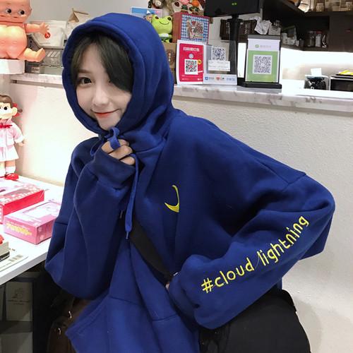 【トップス】清新刺繍キュートフード付きパーカー