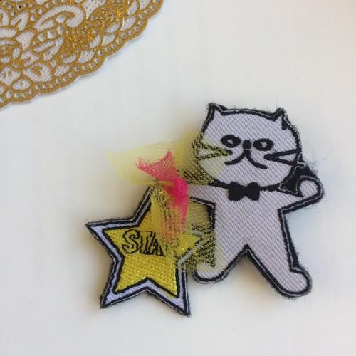 猫パンチブローチ【白猫スター】
