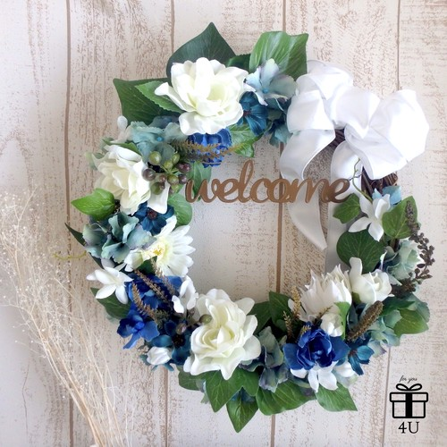 【4U wedding】直径28cmブルーカラーウェルカムリース ウェルカムスペース リボン 結婚式 披露宴 受付サイン インテリア