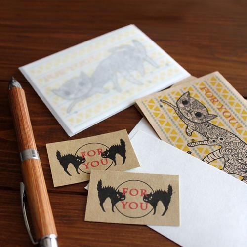 お散歩猫ちゃんのFORYOUメッセージカード(ホワイト&クラフト)