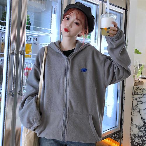 【アウター】韓国系縫いぐるゆるリラックスパーカー