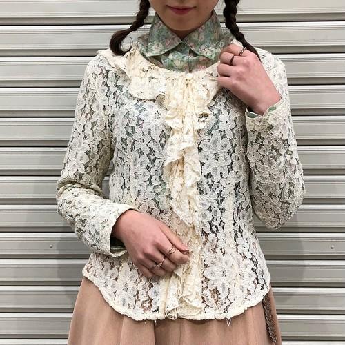 (LOOK) lace design frill cardigan