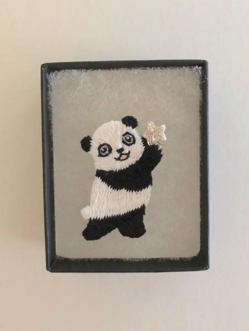 STARパンダ ミニ刺繍ブローチ シルバー