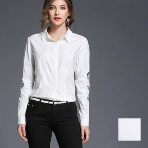 トップス ブラウス・シャツ 定番スタイル 袖コン 刺繍 通勤 ビジネス 着痩せ シンプル 立体デザイン 花柄 ホワイト S M L XL